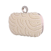 BigForest Vintage Beaded Pearl Crystal Clutch Bag Bridal Evening Handbags Wedding Party Prom bag white