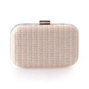 Special Recycled paper Simple Stripe Vintage Woven Multi-purpose Detachable chain European and American style Clutch Wallet , white