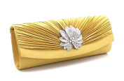 Elegant Pleated Shiny Rhinestones Perfect Bridal packages Fashion flowers Lady style Evening Wallet dance Clutch , gold