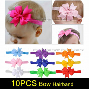 Rzctukltd 10pcs Elastic Baby Headdress Kids Hair Band Girls Bow Newborn Headband Ribbon