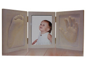 3D Baby Plaster Set Plaster Cast with Picture Frame White Foot Print Photo Album