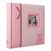 Teddy Bear Baby Photo Album with Pockets for 200 Photos 10 x 15 cm Pink