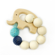 Wooden Teether Wood Elephant Shaped Teething Nursing Bracelet Chew Toy Montessori Baby Teether Toys
