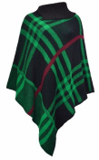WOMEN NEW TARTAN POLO NECK WARM PULLOVER SHAWL PONCHO ONE SIZE. UK One Size 8 To 22