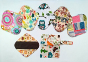 6 Pieces 20cm Reusable Washable Charcoal Bamboo Cloth Mama Menstrual Pads Panty Liner +1 Wet Bag