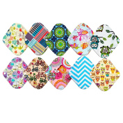 10 Pieces 20cm Reusable Washable Bamboo Cloth Mama Menstrual Pads Panty Liner