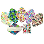 6Pieces 30cm Bamboo Reusable Cloth Mama Menstrual Pad Heavy+1 Wet Bag