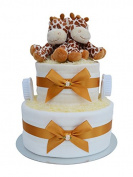 Giraffe Themed Twin Baby Nappy Cake Baby Shower Hamper Gift - with FAST & FREE UK Delivery