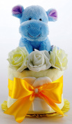 CUTE ONE 1 TIER NAPPY CAKE WITH HIPO TEDDY BABY BOY GIRL UNISEX BABY SHOWER
