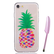 iPhone 7 Case 12cm e,Vioela Cute Colourful Pineapple Pattern Ultra Slim Flexible Soft TPU Silicone Rubber Gel Scratch Resistant Clear Transparent Protective Case Cover with Design for Apple iPhone 7 4.7 Inch with Free Stylus