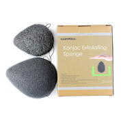 NATURAL KONJAC FACIAL SPONGES - 2 PACK 100% Pure Natural Puff Sponges with Bamboo Charcoal - Naturally alkaline with multiple vitamins and minerals to effortlessly cleanse and soften delicate skin -- Gentle but effective exfoliating - GAINWELL