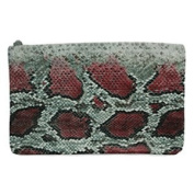 Clutch Red Printed Snake Handbag Textured Snake Cracked in Colour Printed in Various Colours with Zip light.