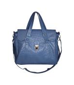 New Ladies Womens Designer Ostrich Effect Satchel Tote Press Lock Handbag