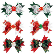 CN 13cm Christmas Hair Bow Clips Xmas Theme Grosgrain Ribbon with Alligator Clip for Babies Girls Teens Pack of 6