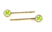 with Glass Cabochon Barrettes - Cloverleaf
