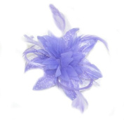 Pastel Coloured Feather Flower Fascinator on a clear comb. Available in colour of pink, orange, blue, cream, lilac or blue. (Lilac) by Na