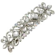 Large Diamante Flower Silver Barrette Hair Clip