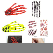 AngelaKerry 1 x Yellow + 1 x Red Skeleton Hand Bone Hair Clip Hairpins + 3pcs Body Temporary Tattoos Sticker with NHT015 NHT024 NHT029 for Halloween Party