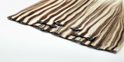 Human Hair Clip-in Extensions, Hair Length 40 cm, Set of 7, 15 Clips, with Beautifying for Extra Shine