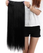 S-noilite® Hot Fashion 80cm Straight Clip in Hair Extensions Hairpiece 1 Piece Half Full Head Dark Black