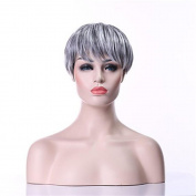 High-grade Charming Synthetic Beauty Short Fashion Colour mixing Foreign Trade Chemical Fibre Anime Wigs for Women Natural As Real Hair for Party/Fancy Dress/Dating