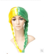 Wig euro masquerade shows beautiful cosplay wigs long braided wig Brazil World Cup fans wig