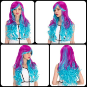 Heat Resistant Lolita Cosplay Long Purple Gradient Blue Inclined Bang Wavy Anime Wig