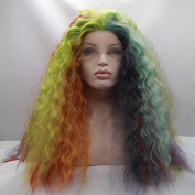 blue/red/yellow/green/orange/purple/pink multi-colour curly wave wig high quality colourful synthetic lace front cosplay wigs heat resistant fibre hair