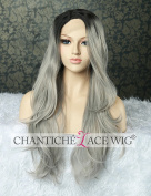Chantiche Black Ombre Silver Grey Lace Front Wigs for Women Synthetic Hair Long Wig uk Natural Wavy Grey Hair High Quality Heat Resistant Fibre Half Hand Tied 60cm