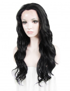 Sotica Long Curly Lace Front Wig for Women Natural Wavy Hand Half Tide Synthetic Hair Wigs Black
