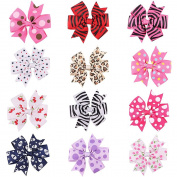 Clest F & H 12pcs Candy Colour Solid Dot Leopard Print Bow Hairpin Hair Clips for Baby Girls Kids Hair Accessories