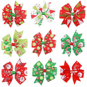 Veewon 8pcs Boutique Kids Bow Christmas Theme Decorative Hair Bows for Baby Girls Kids Hair Pin Clips Baby Accessories
