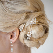 NALATI Wedding Hair pin clips with Bead and Rhinestones - Bridal Headpiece for Bridesmaids