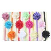 12PCS Chiffon Flower Kids Baby Girl Headbands with Hair Bow Hair Band Headdress Party Supplies for Photo Props
