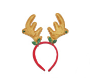 x6 CHRISTMAS REINDEER ANTLERS ON HEADBAND WITH HOLLY AND BELLS - FANCY DRESS