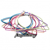 AngelaKerry 10pcs Mix Colour Cat Ear Girl Metal Satin Ribbon Headbands Hairbands Bow for Girl's Fashion Party DIY
