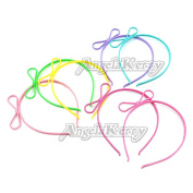 AngelaKerry 7pcs Mix Colour Bows Plastic Headbands Hairbands for Girl's Fashion Party DIY
