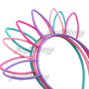 AngelaKerry 6pcs Mix Colour Bunny Tiara Plastic Headbands Hairbands Bow for Girl's Fashion Party DIY