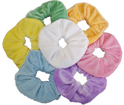 AADYA® PASTEL SET OF 7 LARGE (12cm) VELVET HAIR SCRUNCHIES ELASTIC SCRUNCHY HAIR BOBBLES PONYTAIL HOLDER
