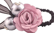 Manufacturer2 Ponytail Holder Pearl Flowers Hair Elastic Tie Rope Fuchsia for Women