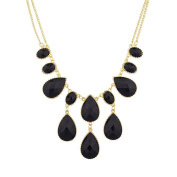 Lux Accessories Purple Waterfall Stone Statement Necklace