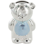 Blue Teddy Money Box - Silver Plated