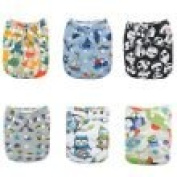 Alva Baby New Design Reuseable Washable Pocket Cloth 6 PCS Nappy Nappies + 12Inserts 6DM12-EU