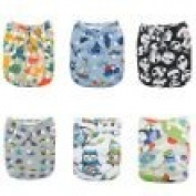Alva Baby New Design Reuseable Washable Pocket Cloth 6 PCS Nappy Nappies + 12Inserts 6DM12-EU