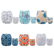 Alva Baby New Positioning and Printed Design Reuseable Washable Pocket Cloth Nappy 6 Nappies 6DM26-EU