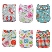 Alva Baby New Design Reuseable Washable Pocket Cloth 6 PCS Nappy Nappies + 12Inserts 6DM15-EU