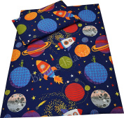 Babies-Island A 2 Piece Bedding Set Pillowcase+Duvet Cover For Baby Toddler To Fit Cot/Cot Bed - SPACE SHIPS, PLANETS