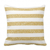 Generic Sparkle Glitter Look Stripes Pillow Covers Pattern Pillowcase Throw Cushion Cover Gold White 18 x 18 Home Sofa Bed Car Cushion Cover