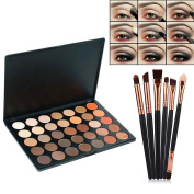 VONISA 35 Warm Colour Eyeshadow Palette - Makeup Waterproof Nature Glow Matte Eye Shadows Kits - Beauty Cosmetics Tools - Professional Make Up Shimmer Eye Shadow Pallets with Eyes Makeup Brushes Set