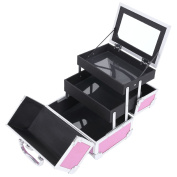 Songmics Aluminium Beauty Case Pink Cosmetic Case with mirror Makeup Box (24 x 19 x 17) JBC316P